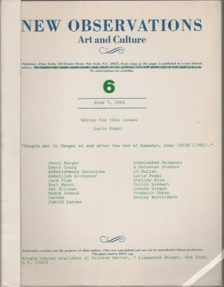 NEW OBSERVATIONS: Art and Culture #6 - June 7, 1982