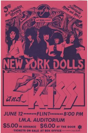 Original Poster for a 1974 New York Dolls & Kiss Concert at the I.M.A Auditorium in Flint, MI