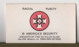 Louisiana Knights of the Ku Klux Klan Card