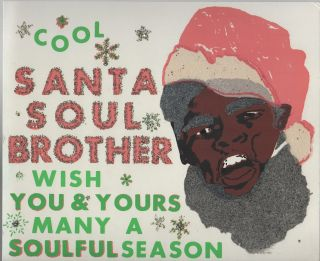 COOL SANTA SOUL BROTHER WISH YOU & YOURS MANY A SOULFUL SEASON [Novelty Black Santa Decorative...