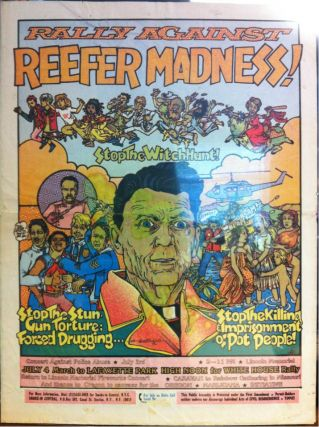 RALLY AGAINST REEFER MADNESS [etc. - Original Poster]. Drugs, Dana . FRANZEN, Artist, Marijuana