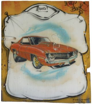 "Original Artwork: Airbrush T-Shirt Artist Signage]. Outsider Art, Dick - ""Birdie"" . GREEN,..."