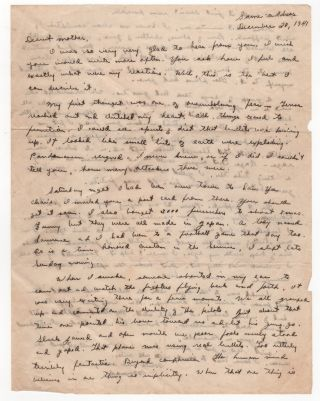 Eyewitness Account to Pearl Harbor Day Attack - Autograph Letter Signed with Related Materials