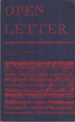 OPEN LETTER - Third Series, No. 7 - Summer 1977