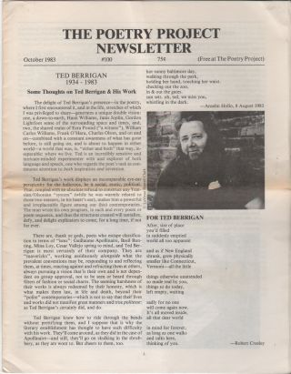 THE POETRY PROJECT NEWSLETTER - No. 100 - October 1983