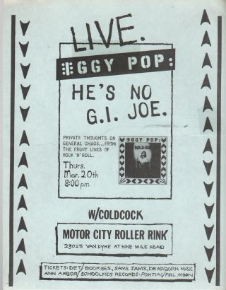 LIVE. IGGY POP: HE'S NO G.I. JOE. [Concert Flyer
