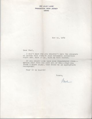 Typed Letter Signed]. Paul FUSSELL