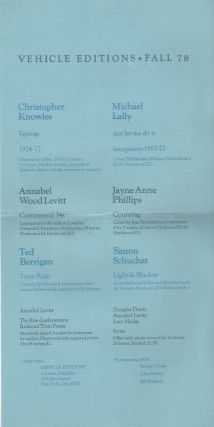 VEHICLE EDITIONS FALL 78 [Publisher's Promotional Broadside