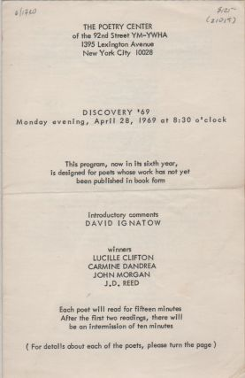 DISCOVERY '69 [Program for Reading/Event - Monday April 28, 1969 for The Poetry Center at the...