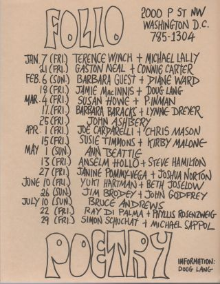 FOLIO POETRY [Flyer Schedule for Seven Months of Readings at Folio Books