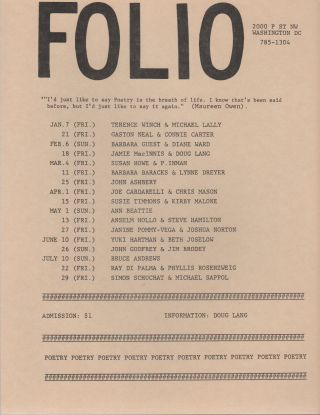 Flyer Schedule for Seven Months of Readings at Folio Books, D.C