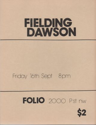 Flyer for a Reading by Fielding Dawson at Folio Books, D.C
