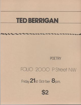 Flyer for a Reading by Ted Berrigan at Folio Books, D.C