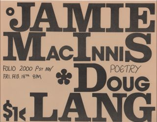 Flyer for a Reading by Doug Lang and Jamie MacInnis at Folio Books, D.C