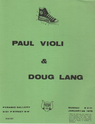 Flyer for a Reading by Paul Violi and Doug Lang at Pyramid Gallery, DC