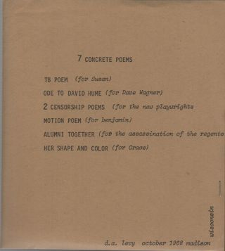 7 CONCRETE POEMS / CONCRETE POEMS / ELECTRIC GREEK POEMS. d. a. levy, Jon Beacham, Printer