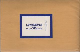 LEADERSHIP CONFERENCE ON CIVIL RIGHTS [Information Packet]. African-Americana, Civil Rights