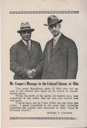 MR. COOPER'S MESSAGE TO THE COLORED CITIZENS OF OHIO [Broadside