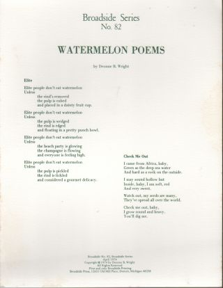 WATERMELON POEMS (Broadside Series No. 82