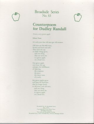 COUNTERPOEM FOR DUDLEY RANDALL: From a Very Green Apple (Broadside Series No. 83