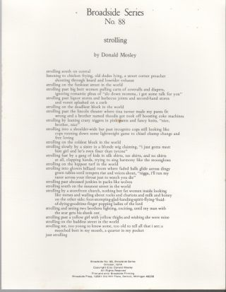 STROLLING (Broadside Series No. 88