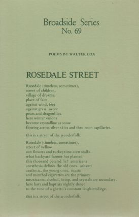 POEMS BY WALTER COX (Broadside No. 69