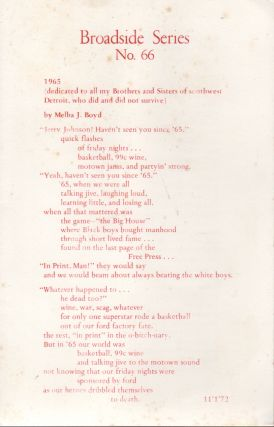 1965 [...] FLOWERS AT THE JACKSON FUNERAL HOME [...] X PRESSING FEELIN (Broadside No. 66
