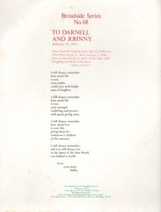TO DARNELL AND JOHNNY (Broadside No. 68). Melba J. BOYD