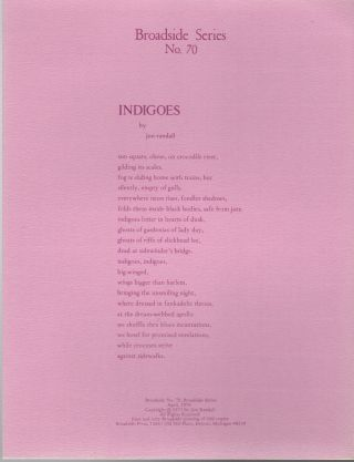 INDIGOES (Broadside No. 70