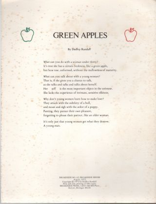 GREEN APPLES (Broadside No. 62