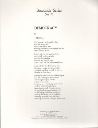 DEMOCRACY (Broadside No. 71