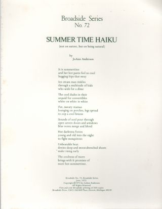 SUMMER TIME HAIKU (Broadside No. 72). JoAnn ANDERSON