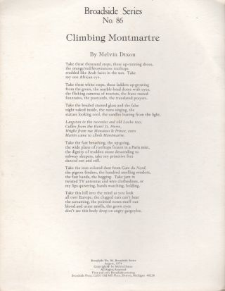 CLIMBING MONTMARTRE (Broadside No. 86