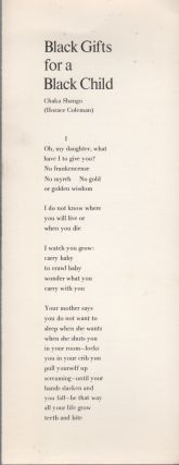 BLACK GIFTS FOR A BLACK CHILD (Broadside No. 56