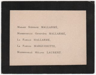 "Original Mourning Card (""Carte de deuil"") from Mallarme's Funeral"