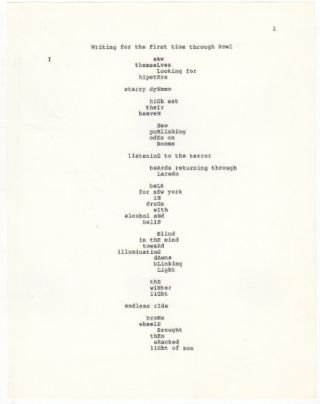 [Original Typescript of] WRITINGS THROUGH HOWL / FOR A.G. [Allen Ginsberg] ON HIS SIXTIETH BIRTHDAY
