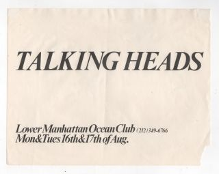 Original Flyer for Talking Heads Show at The Ocean Club in Lower Manhattan