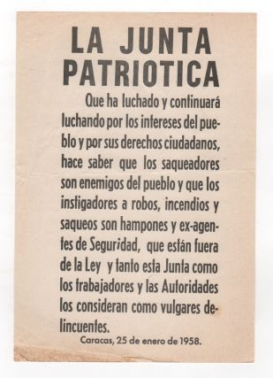 Original Junta Patriotica Broadside