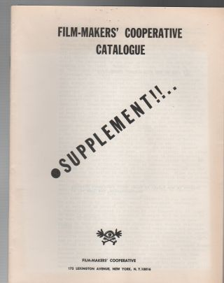 FILM-MAKERS' COOPERATIVE CATALOGUE NO. 4 [WITH SUPPLEMENT]