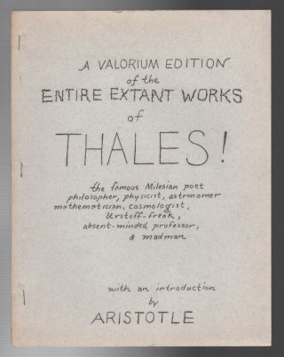 A VALORIUM EDITION OF THE ENTIRE EXTANT WORKS OF THALES! Ed and Aristotle SANDERS