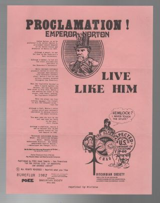 PROCLAMATION! EMPEROR NORTON: Live Like Him [Flyer