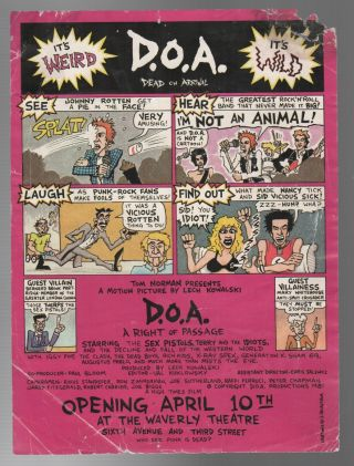 D.O.A.: A Right of Passage [Film Premiere Handbill