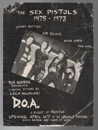 D.O.A.: A Right of Passage [Film Premiere Handbill]