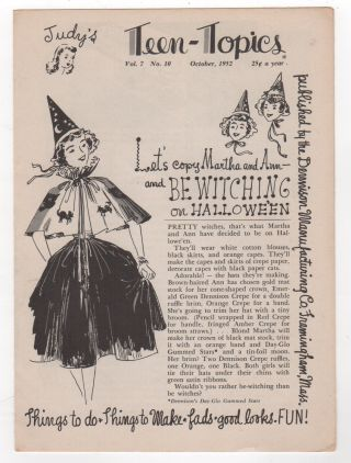 JUDY'S TEEN-TOPICS / Vol. 7 No. 10 October 1952. Adolescence, Halloween, Witches