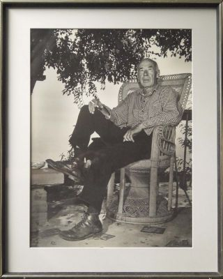 FRAMED, ORIGINAL BLACK-AND-WHITE PHOTOGRAPH OF HENRY MILLER]. Henry MILLER, Arthur Knight,...
